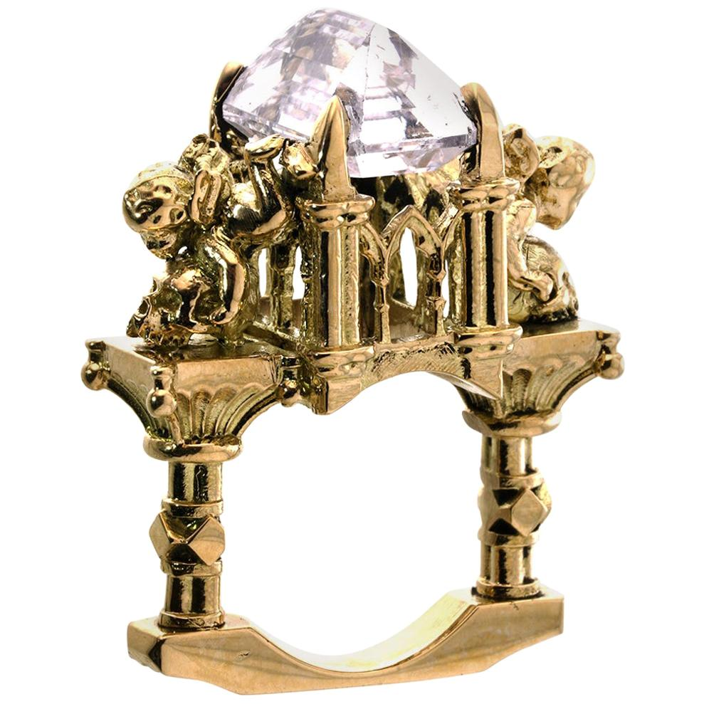 Effervescent Temptress Cathedral Ring in 18 Karat Yellow Gold and Pink Morganite