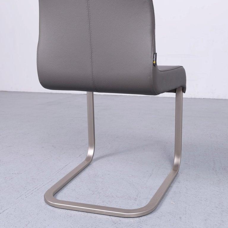 Effezeta Designer Leather Chair Set Grey Modern Timeless