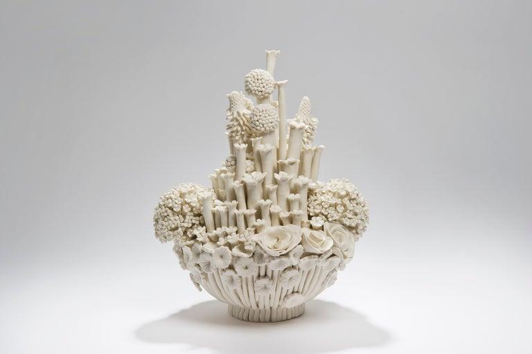 Organic Modern Efflorescence I, a Unique Porcelain Floral Sculpture by Vanessa Hogge For Sale