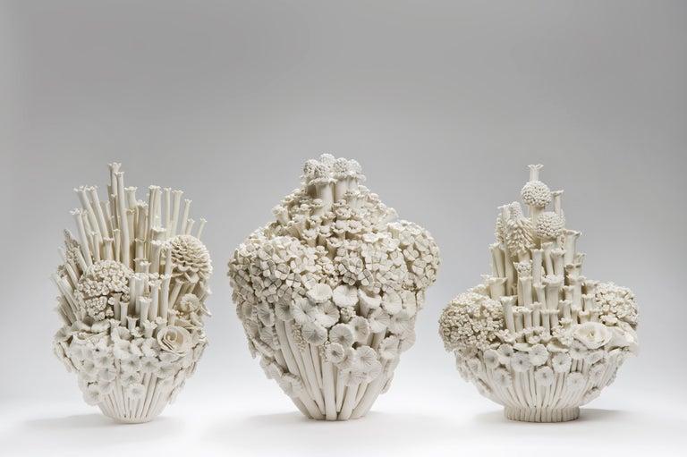 Efflorescence I, a Unique Porcelain Floral Sculpture by Vanessa Hogge For Sale 1