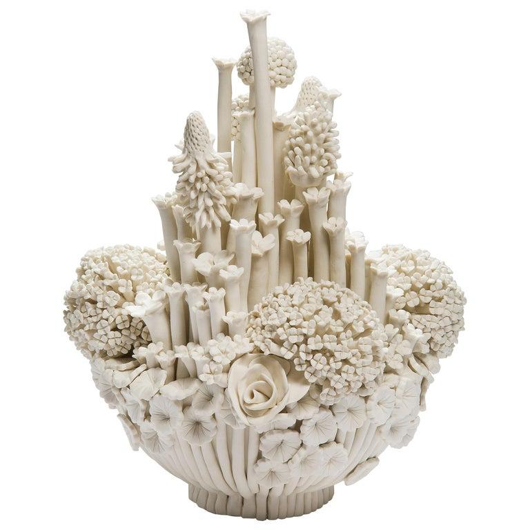 Efflorescence I, a Unique Porcelain Floral Sculpture by Vanessa Hogge For Sale