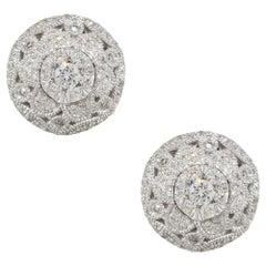 Effy 0.50 Carat Diamond Pave Button Earrings 14 Karat in Stock