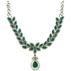 Effy 12 Carat Marquise Emerald and 2.76 Carat Diamond Necklace 14 Karat Gold