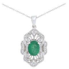 Effy 1.32 Carat Oval Emerald and Diamond Pendant Necklace 14 Karat Gold Milgrain
