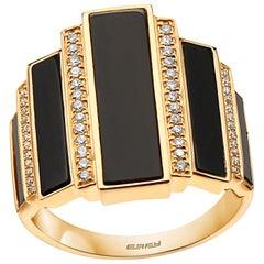 Effy 14 Karat Diamond and Onyx Ring