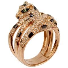 EFFY 14 Karat Gold, Diamond, and Tsavorite Garnet Panther Cocktail Ring