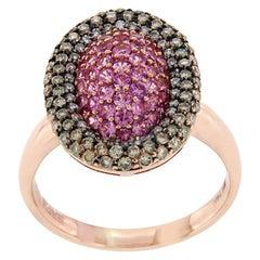 Effy 14 Karat Rose Gold Brown Diamond and Pink Sapphire Ring