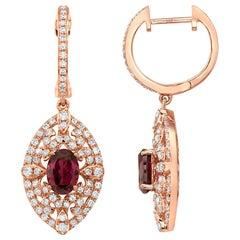 Effy 14 Karat Rose Gold Diamond and Rhodolite Garnet Earrings