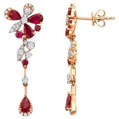 Effy 14 Karat Rose Gold Diamond and Ruby Earrings