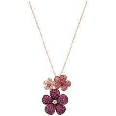 Effy 14 Karat Rose Gold Diamond, Ruby and Pink Sapphire Pendant