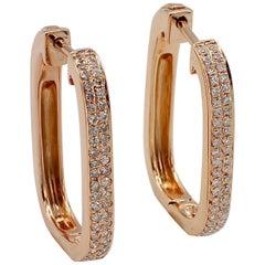 Effy 14 Karat Rose Gold Pave Diamond Hoop Earrings