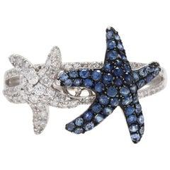Effy 14 Karat White Gold, Diamond and Sapphire Starfish Ring