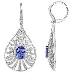 Effy 14 Karat White Gold Diamond and Tanzanite Earrings