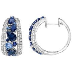 Effy 14 Karat White Gold, Diamond, Ceylon Sapphire and Blue Sapphire Earrings
