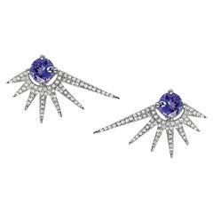 Effy 14 Karat White Gold Diamond & Tanzanite Earrings
