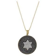 Effy 14 Karat White & Yellow Gold Diamond & Black Diamond Pendant