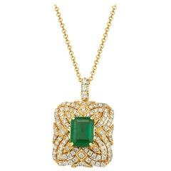 Effy 14 Karat Yellow Gold Diamond and Emerald Pendant