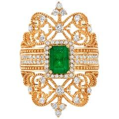 Effy 14 Karat Yellow Gold Diamond and Emerald Ring