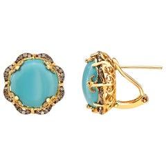 Effy 14 Karat Yellow Gold Diamond and Turquoise Earrings