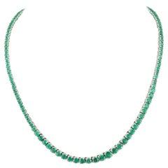 EFFY 14 Karat White Gold 31.50 Carat Emerald Riviera Tennis Necklace