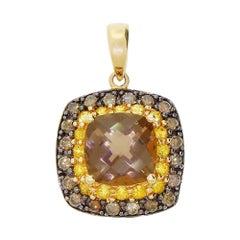 Effy BH 14 Karat Gold Pendant for Necklace Cognac Diamond Topaz and Smoky Quartz
