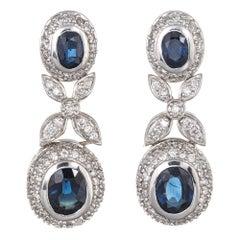Effy Bita Diamond Sapphire Earrings Estate 18 Karat Gold Drop Dangle Jewelry