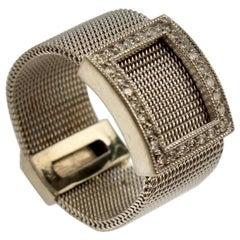 Effy Bita Mesh Band 14 Karat Gold and Diamond Ring