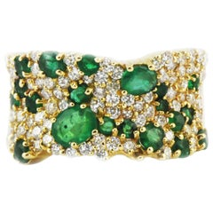 Effy Brasilica 14Kt Gold Cluster Ring Natural Emeralds and Diamond 2.65 Carat