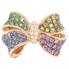 Effy Diamond and Multi-Colored Sapphire Bow Ring