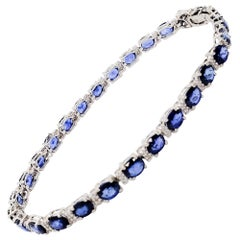 Effy Estate Blue Sapphire and White Diamond Bracelet in 14 Karat White Gold