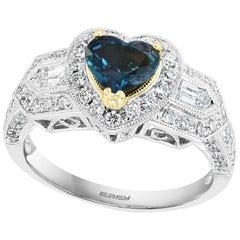 Effy Hematian 18 Karat 2-Tone Gold, Diamond and Alexandrite Art Deco Ring