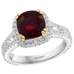 Effy Hematian 18 Karat 2-Tone Gold, Diamond and Ruby Ring