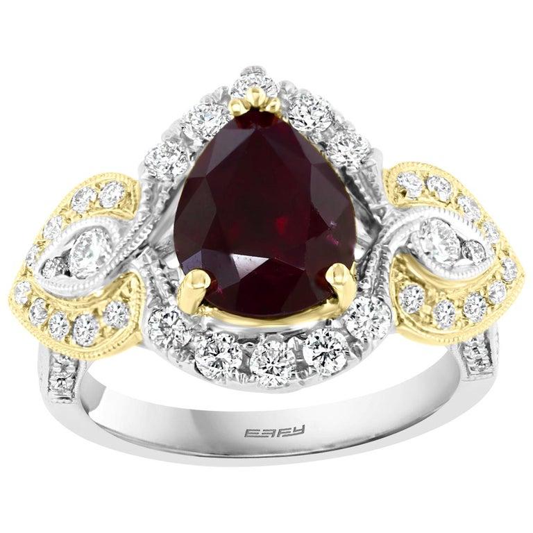 Effy Hematian 18 Karat 2-Tone Gold Diamond and Ruby Ring For Sale