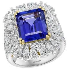 Effy Hematian 18 Karat 2-Tone Gold, Diamond and Tanzanite Victorian Ring