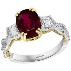 Effy Hematian 18 Karat 2-Tone Gold, Diamond, Yellow Diamond, and Ruby Ring