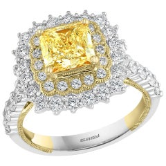 Effy Hematian 18 Karat 2-Tone Gold, White and Yellow Diamond Ring