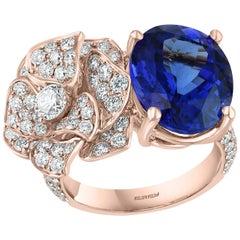 Effy Hematian 18 Karat Rose Gold Diamond and Tanzanite Floral Ring