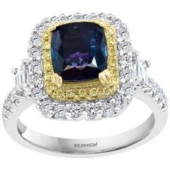 Effy Hematian 18 Karat White and Yellow Gold, Diamond and Alexandrite Ring
