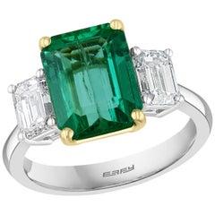 Effy Hematian 18 Karat White and Yellow Gold Diamond and Emerald 3-Stone Ring