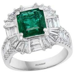 Effy Hematian 18 Karat White Gold Diamond and Emerald Art Deco Ring