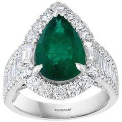 Effy Hematian 18 Karat White Gold Diamond and Emerald Ring