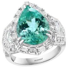 Effy Hematian 18 Karat White Gold Diamond and Paraiba Tourmaline Ring