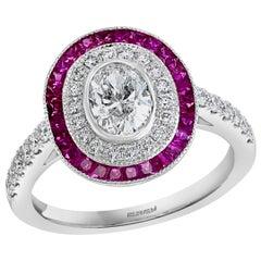 Effy Hematian 18 Karat White Gold Diamond and Pink Sapphire Ring
