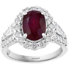 Effy Hematian 18 Karat White Gold, Diamond and Ruby Victorian Ring