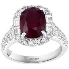 Effy Hematian 18 Karat White Gold, Diamond and Ruby Art Deco Ring
