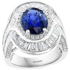 Effy Hematian 18 Karat White Gold Diamond and Sapphire Statement Ring