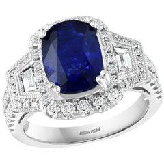 Effy Hematian 18 Karat White Gold Diamond and Sapphire Art Deco Ring
