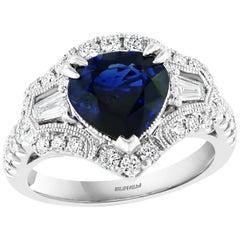 Effy Hematian 18 Karat White Gold Diamond and Fancy Sapphire Art Deco Ring