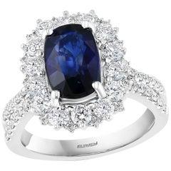 Effy Hematian 18 Karat White Gold Diamond and Sapphire Victorian Ring