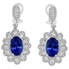 Effy Hematian 18 Karat White Gold Diamond and Tanzanite Victorian Drop Earrings